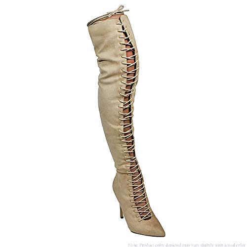 Liliana Thigh High Lace-Up Pointy Boots Shayla-41 Nude 6