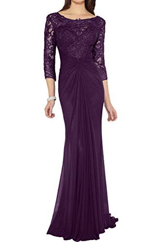 Chiffon 3 Arm Elegant 4 Ivydressing Etui Falte Spitze Brautmutterkleid Abendkleid Applikation lang Grape Partykleid Damen Rundkragen 4gx0q88Sn