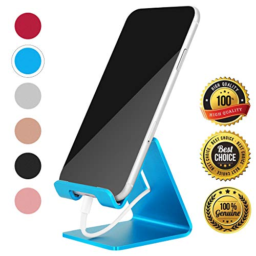Desk Cell Phone Stand Holder Aluminum Phone Dock Cradle Compatible with Switch, All Android Smartphone, for iPhone 11 Pro Xs Xs Max Xr X 8 7 6 6s Plus 5 5s 5c Charging, Accessories Desk (Blue)