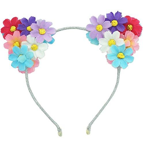 Frcolor Cat Ear Headband, LED Daisy Flowers Cat Animal Ears Headband Glowing Hairband for Women -