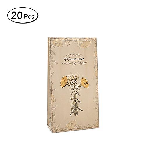 Zhi Jin 20Pcs Elegant Flowers Thick Kraft Paper Gift Bags Package Wrapping Bag Craft Present Tuberose (Square Tuberose)
