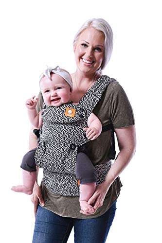 Baby Tula Explore Baby Carrier, Adjustable Newborn to Toddler Carrier, Ergonomic and Multiple Positions for 7 – 45 pounds – Forever (Black and White Geometric Print)