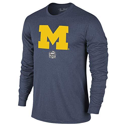 Michigan Wolverines Bowl - Elite Fan Shop Michigan Wolverines Peach Bowl Long Sleeve Tshirt 2018 Icon - L - Navy