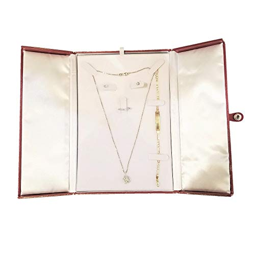 888 Display USA Red/White Earring Ring Necklace Bracelet Combo with Gift Box Display (Red/White)