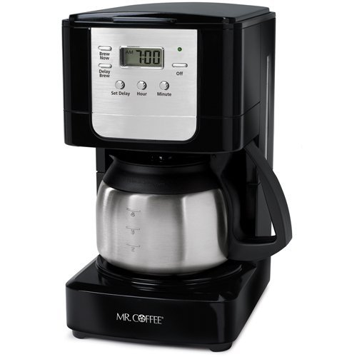 Stainless Steel Mr Coffee - Mr. Coffee JWX9-RB 5-Cup Programmable Coffeemaker, Black with Stainless Steel Carafe (Renewed)