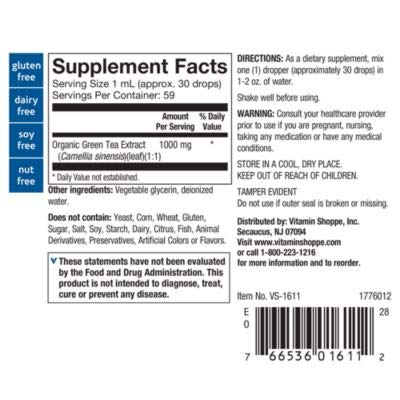 The Vitamin Shoppe Organic Green Tea Extract 1,000MG, Alcohol Free, Antioxidant Supplement that Supports Cellular Cardiovascular Health, Mix's Well with Water 2 Fluid Ounces Liquid