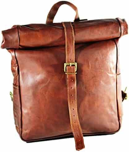 0086840e41 Urban dezire Vintage Leather Backpack School College Book Bag Laptop  Backpack Brown