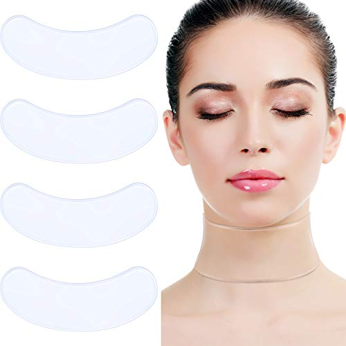 Tatuo 4 Pack Silicone Neck Care Pad Neck Tape Wrinkle Pads Wrinkles Lines Moisturizer Neck Transparent Pads Neck Lifting