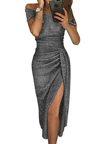 Douremifa Metallic Glitter Party Sexy Dresses for Womens Summer Off Shoulder Short Sleeve Evening Prom Gowns Slit Midi Dress Black XL