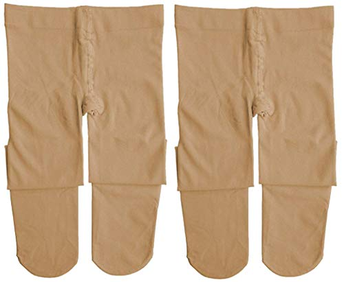 Dancina Ballet Dance Tights Footed 2pack for Teenagers Women's M/L Suntan x2 (Womens Tight)