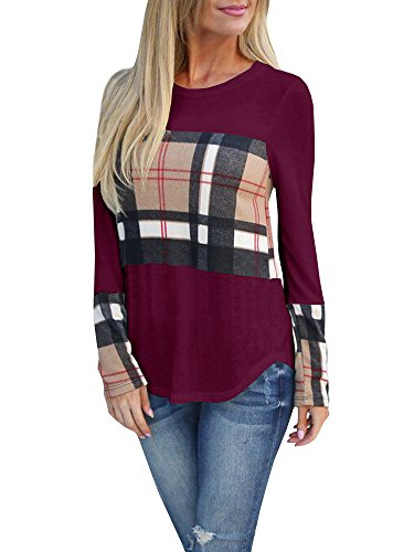 Tutorutor Womens Long Sleeve Plaid T Shirts Casual Round Neck Curved Hem Color Block Loose Fit Fall Tunic Tops Blouse Burgundy