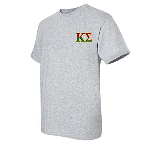 Kappa Sigma Standard T-Shirt - Crest and Greek Letter Back Imprint (large, Athletic (Back Imprint)