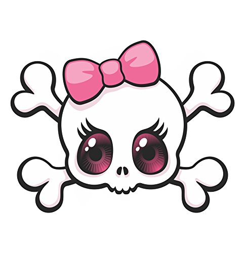 Pink Bow Skull sticker / decal (Girly Skull Stickers)