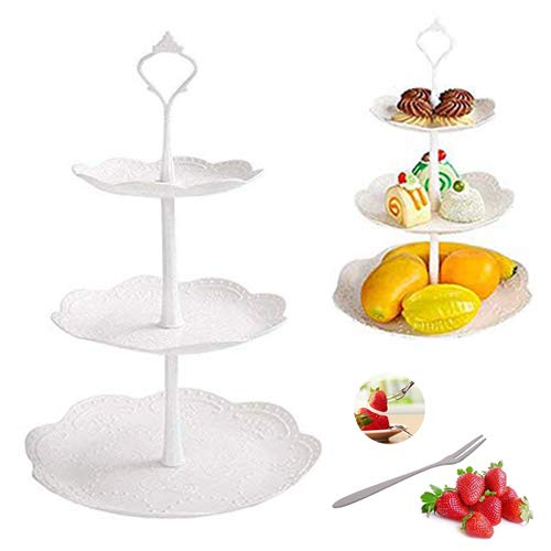 Cake Stand Tower 3-Tier Fruit Racks Plastic Cupcake Dessert Stand-tea Party Serving Platter and 5pcs Fruits Forks For Weddings, Tea Party, Holiday Dinners, or Birthday Parties