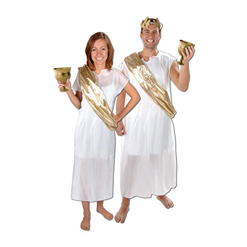 Italian Ancient Roman Inspired White and Gold Toga and Sash Costume Accessories - Ancient Rome Fancy Dress Costumes