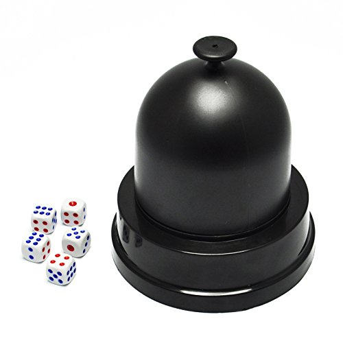 Roller Dice Game (Gikfun Automatic Lucky Dice Roller Cup Set with 5 Dices for Christmas Party Games EK1883)