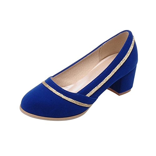 Carolbar Donna Catene Decorazioni Moda Charm Polsino Grosso Tacco Medio Pompe Scarpe Blu