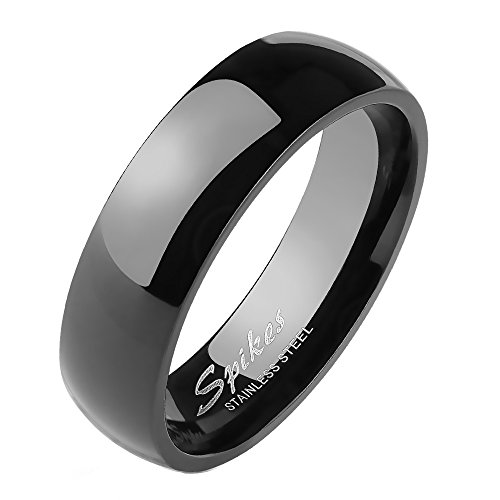 Jinique STR-0003 Stainless Steel Shiny Polished Black Plain Band Ring; Comes with Box