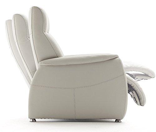 4.4.3.2976: LIEFERUNG in die Wohnung - TV-Sessel in Rindsleder weiss - Fernsehsessel weisses Leder - Sitz mit Federungkern
