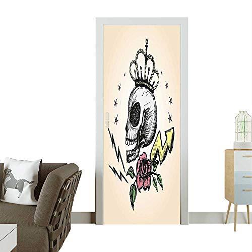 Homesonne 3D Door Decals Folk Inspired Skelet Crown Rose Halloween sy Yellow Peach Self Adhesive Door DecalW30 x H80 INCH -
