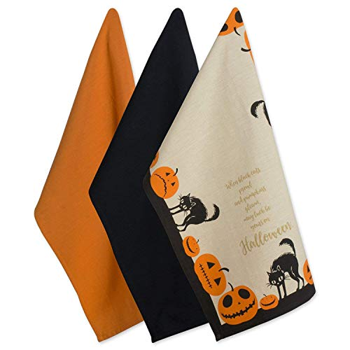 DII 100% Cotton, Oversized Decorative Halloween Holiday Printed Dish Towels, 18x28, Set of 3-Jack O Lantern, Dishtowels Set of 3-Jack O' Lantern -