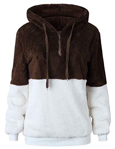 Women Long Sleeve Fleece Pullover Hoodie 1/4 Zip Patchwork Sherpa Sweatshirt Fuzzy Casual Tops Outwear Coffee -