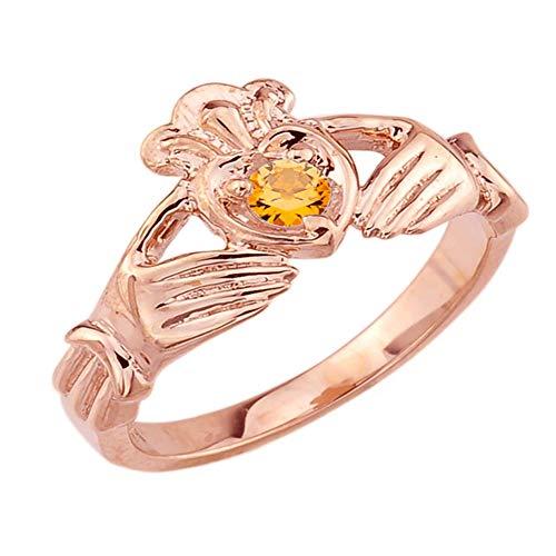 Women's Fine 14k Rose Gold Custom Personalized CZ Heart November Birthstone Claddagh Ring (Size 7.5)