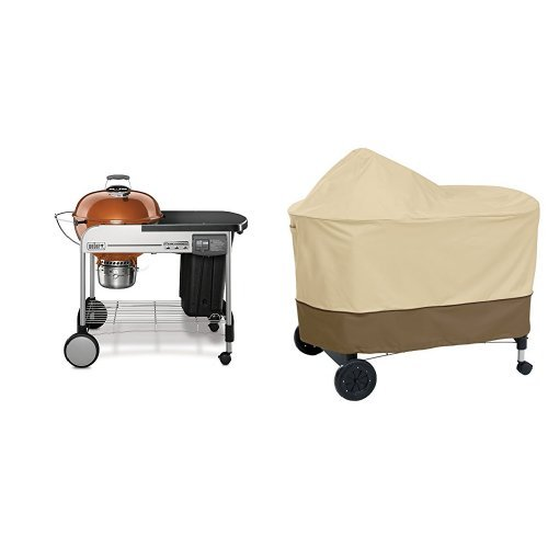 Weber Built In Cover - Weber 15502001 Performer Deluxe Charcoal Grill, 22-Inch, Copper with Classic Accessories Cover