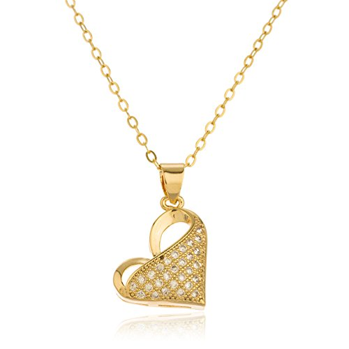 Two Year Warranty Gold Overlay Slanted Heart Pendant with an 18 Inch Link Necklace and Cubic Zirconia (Necklace Heart Pendant Slanted)