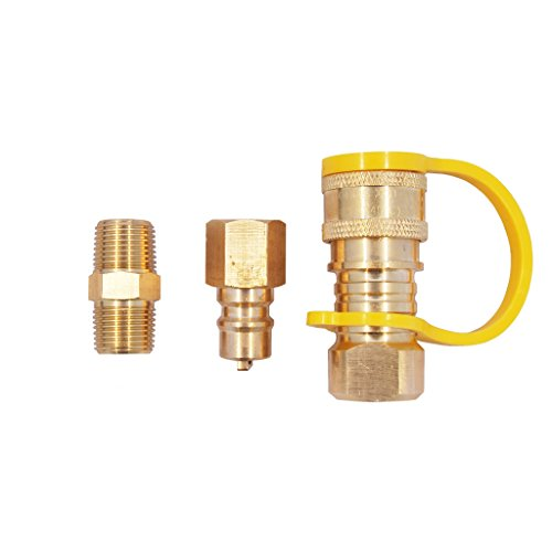 KIBOW 100% Solid Brass Propane/Natural Gas Quick-Connect Kit 3/8