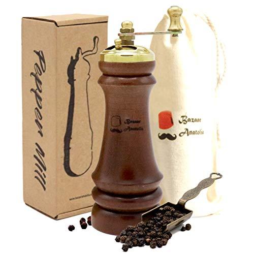 (Pepper Mill, Steel Mechanism Handmade Wooden Pepper Grinder, Spice Grinder 5.9