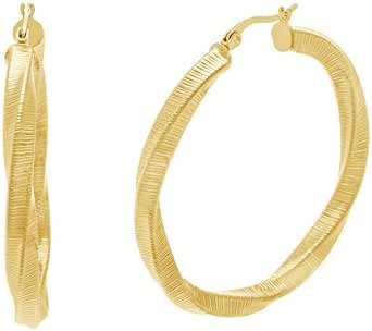 Gold Tone Stainless Steel Twisted and Textured Round Hoop 40mm Earring