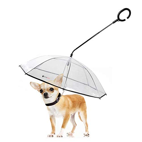 LESYPET Dog Umbrella - Adjustable Pet Dog Umbrella with Leash for Small Pets (Upgraded Flexible Handle)