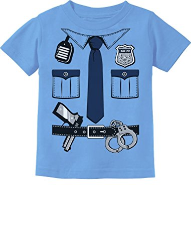 [Police Cop Uniform Halloween Costume Policeman Suit Toddler/Infant Kids T-Shirt 5/6 California Blue] (Cop Costumes Tshirt)