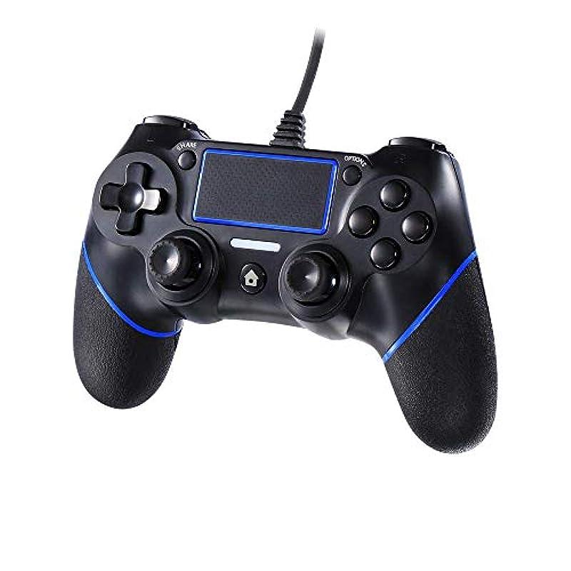JAMSWALL PS4콘트롤러 유선 접속 게임 패드 진동 기능 DUALSHOCK4 터치 패드 탑재 PS4/PS3/PC대응
