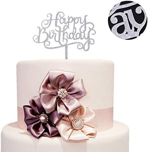 Happy Birthday Cake Toppers Glitter Calligraphy Bling Sign Decoration 2020 P7J0