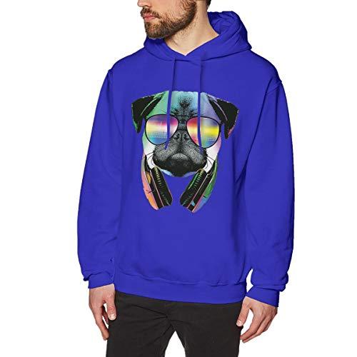 (Onge George St DJ Puppy Printed Drawstring Pullover Men's/Boys Hoodies Drawstring Closure/Pullover Hoodie/Hoodie/Sweater/Sweatshirt 3XL Blue)