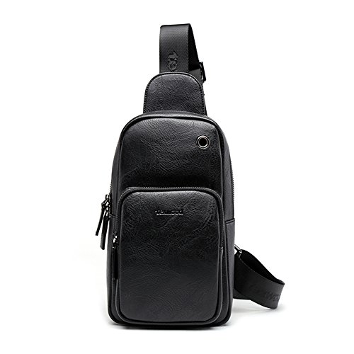 Headphone Casual Cycling theft color Sling Pack Hiking With Outdoor Black Shoulder Blue Bag Anti Backpack Port Body Chest Cross Women Man Travel For WRx7a