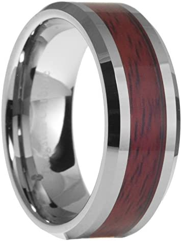 Size 6-13 8mm Band Ring Tungsten Steel Wood Men/'s Stainless Steel Silver Inlaid