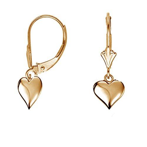 Heart Earrings Gold 10k - Ritastephens 10K Real Yellow Gold Heart Lever Back Earrings
