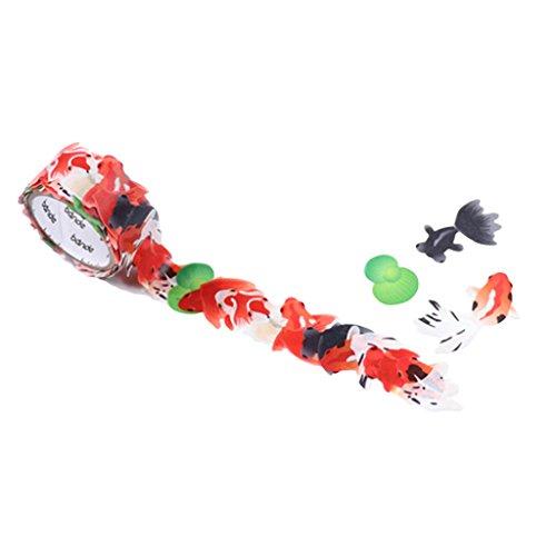 Roll Stickers Fish - Bande Masking Roll Sticker Masking Tape Gold Fish for Scrapbooking DIY (BDA250)