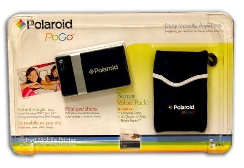 Polaroid Pogo Instant Digital Mobile Printer + 40 Sheets of Zink Paper & Case BUNDLE (Black) by Polaroid Originals