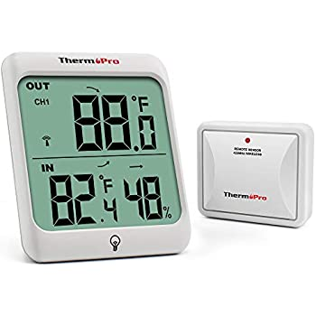 ThermoProTP63 Digital Wireless Hygrometer Indoor Outdoor Thermometer Wireless TemperatureandHumidity Monitor with Cold-resistant and Waterproof Humidity Gauge, 200ft / 60m Range
