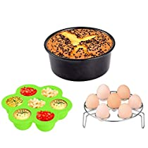 Instant Programmable Pressure Cooker Accessories 3pcs,KINDEN,Silicone Egg Bites Mold with lid+Egg Steamer Rack+ 7 Inch Round Removable Bottom Non-Stick Cake Pan for 5 6 8 Quart PressureCooker