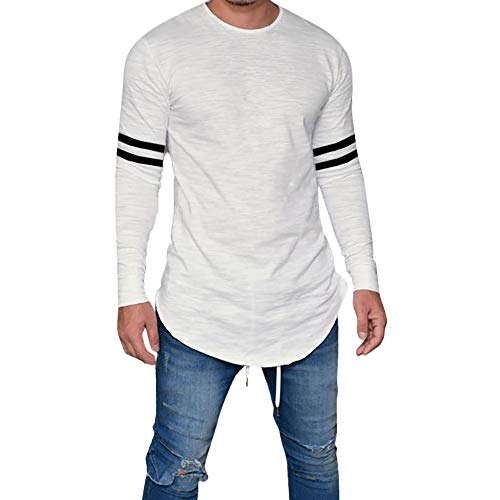 iZHH Men Shirt Classic Slim Fit O Neck Long Sleeve Muscle Casual Tops(Z1-White,M)