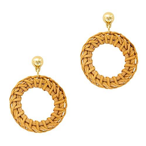 Rattan Weave Statement Earrings - Drop Raffia Boho Dangle Earrings (2.24