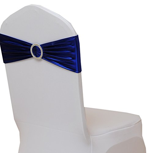 Fvstar Royal Blue 20pcs Wedding Chair Sashes Bows Party Chair Cover Bands Banquet Chair Ribbons for Baby Shower Valentines Banquet Decorations Without White Covers