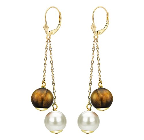 Tigers Eye White Earrings - White Freshwater Cultured Pearl Earrings Simulated Tiger Eye 14K Yellow Gold Bridal Jewelry 8-8.5mm