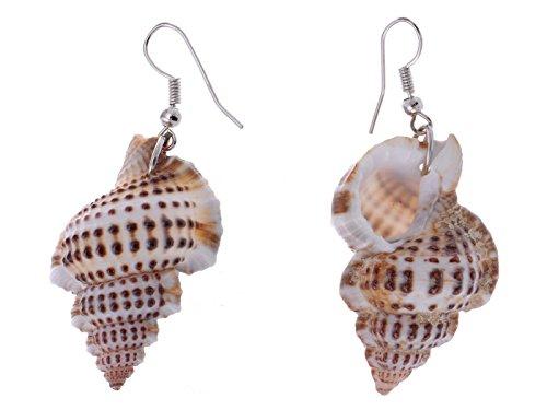 (Alilang Silvery Tone Marine Ocean Spiral Speckled Brown Conch Seashell Mermaid Dangle Drop Earrings)