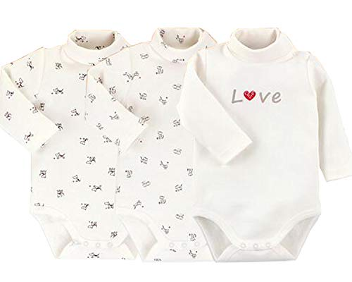 - Infant Baby Boys Girls Long Sleeves Thermal Onesies Turtle-Neck Bodysuit Fall Winter Cloths Outfit (3-Pack White, 6-9 Months)